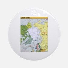 Arctic Polar Map Ornament (Round)