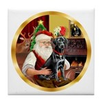 Santa's Lab (blk)#1 Tile Coaster