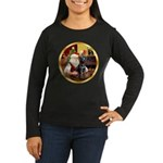 Santa's Lab (blk)#1 Women's Long Sleeve Dark T-Shi