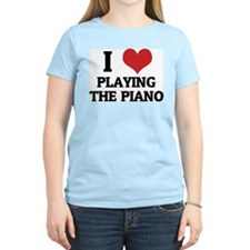 I Love Playing the Piano Women's Pink T-Shirt