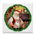 Santa's Pomeranian #1 Tile Coaster