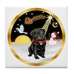 Night Flight/Pug (blk)#13 Tile Coaster