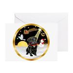 Night Flight/Pug (blk)#13 Greeting Cards (Pk of 20