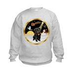 Night Flight/Pug (blk)#13 Kids Sweatshirt