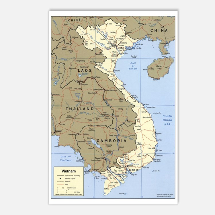 Vietnam Asia Map Postcards (Package of 8)
