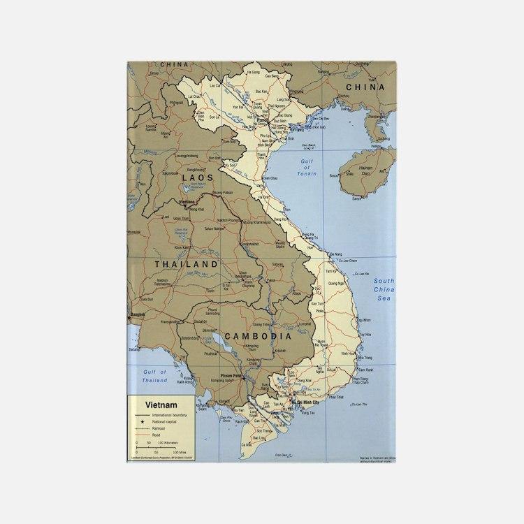 Vietnam Asia Map Rectangle Magnet