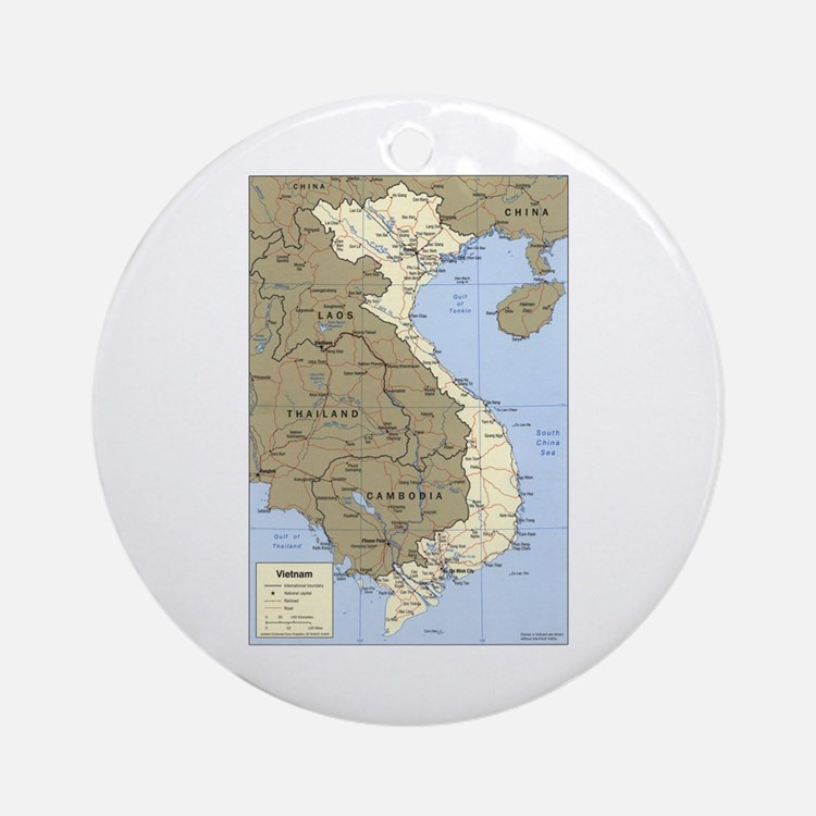 Vietnam Asia Map Ornament (Round)