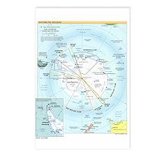 Antarctic Antarctica Map Postcards (Package of 8)