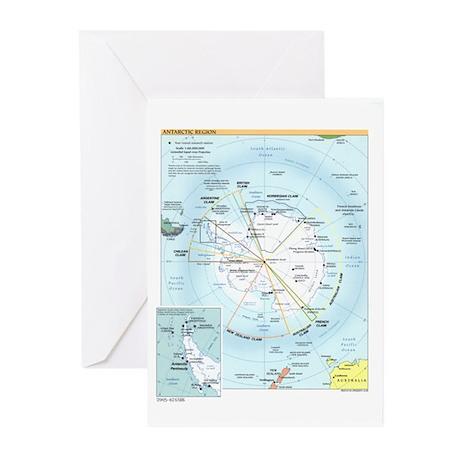 Antarctic Antarctica Map Greeting Cards (Pk of 10)