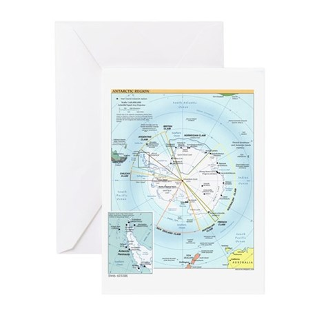Antarctic Antarctica Map Greeting Cards (Pk of 20)