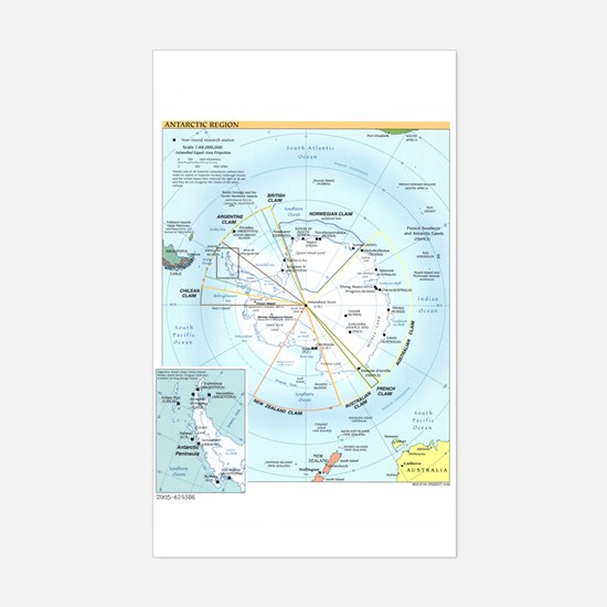 Antarctic Antarctica Map Rectangle Decal