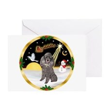 Night Flight/Silver Poodle Greeting Card