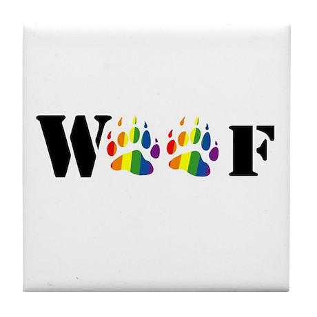woof rainbow paw Tile Coaster
