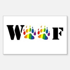 woof rainbow paw Rectangle Decal