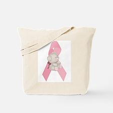 Breast Cancer Ribbon & Teddy Bear Tote Bag