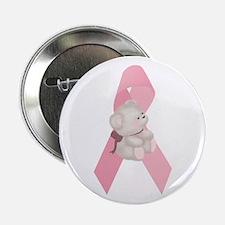 Breast Cancer Ribbon & Teddy Bear Button
