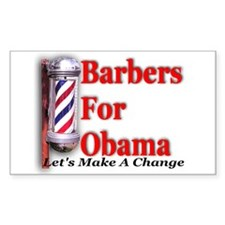 Barbers For Obama Rectangle Decal