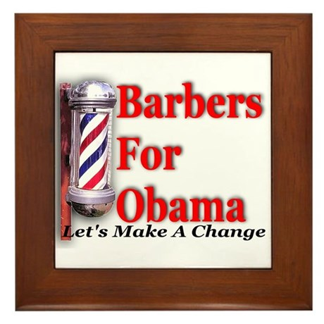 Barbers For Obama Framed Tile