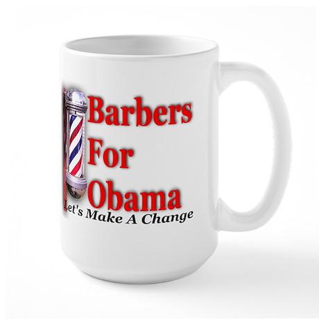 Barbers For Obama Large Mug