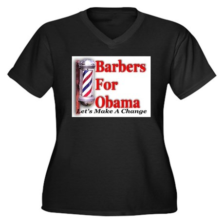 Barbers For Obama Women's Plus Size V-Neck Dark T-