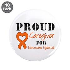"Caregiver Orange Ribbon 3.5"" Button (10 pack)"