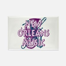 Purple New Orleans Music Rectangle Magnet