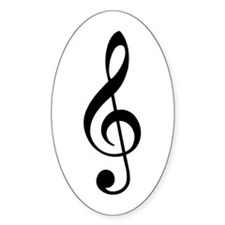 Trad Basic Black Treble Clef Oval Decal