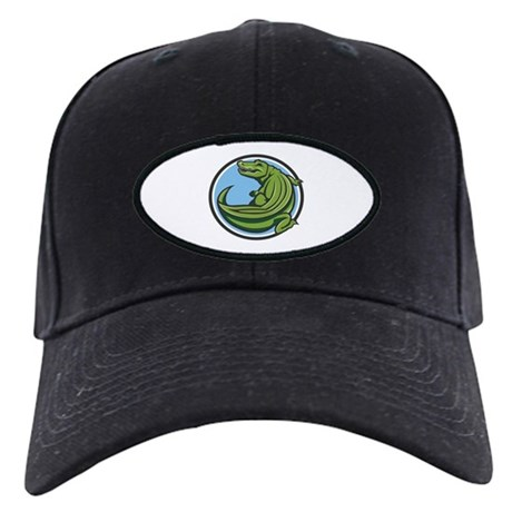 Crocodile Logo Black Cap