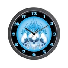 Blue Blazing Skulls Wall Clock