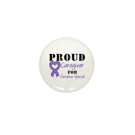 Caregiver Purple Ribbon Mini Button (10 pack)