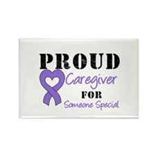 Caregiver Purple Ribbon Rectangle Magnet