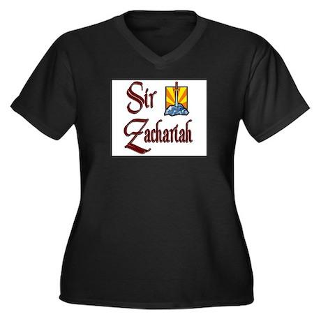 Sir Zachariah Women's Plus Size V-Neck Dark T-Shir