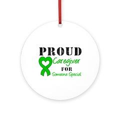 Caregiver Green Ribbon Ornament (Round)