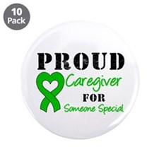"""Caregiver Green Ribbon 3.5"""" Button (10 pack)"""
