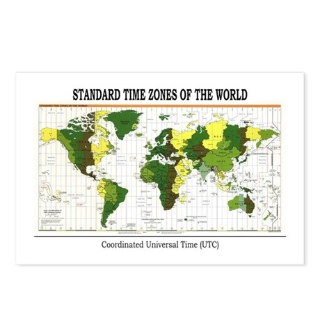 World Time Zone Map Postcards (Package of 8)
