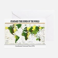 World Time Zone Map Greeting Card