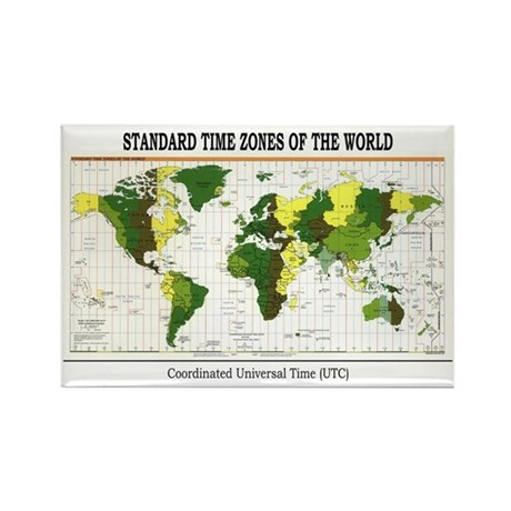 World Time Zone Map Rectangle Magnet