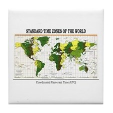 World Time Zone Map Tile Coaster