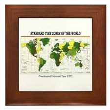 World Time Zone Map Framed Tile