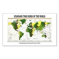World Time Zone Map Rectangle Decal