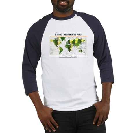 World Time Zone Map Baseball Jersey