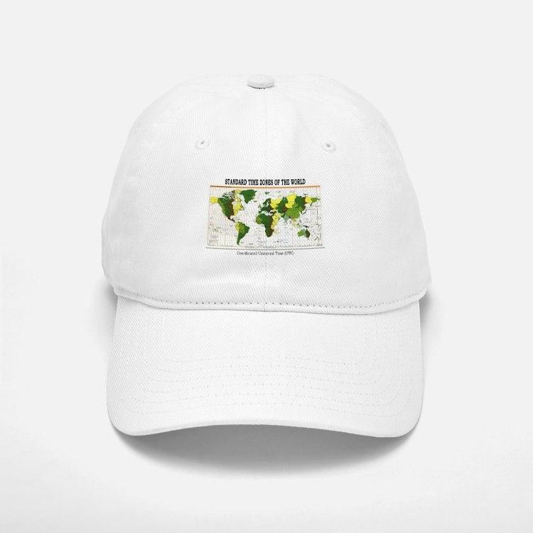 World Time Zone Map Baseball Baseball Cap