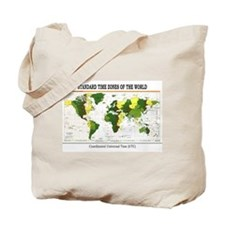 World Time Zone Map Tote Bag