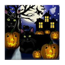 BLACK CATS HALLOWEEN Tile Coaster
