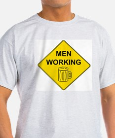 MEN WORKING BEER SIGN Ash Grey T-Shirt