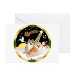 Night Flight/2 Pomeranians Greeting Cards (Pk of 1