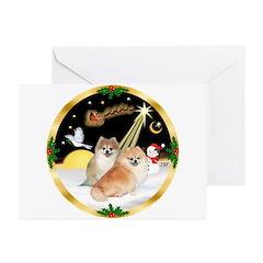 Night Flight/2 Pomeranians Greeting Cards (Pk of 1