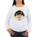 Night Flight/2 Pomeranians Women's Long Sleeve T-S