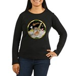 Night Flight/2 Pomeranians Women's Long Sleeve Dar