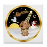 Night Flight/Dachshund #11 Tile Coaster